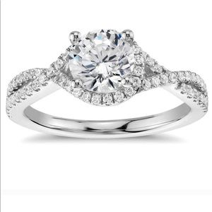 Sterling Silver Twisted Braided CZ Engagement Ring